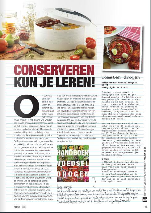 Handboek voedsel drogen Claudia Kuyken in Peper magazine