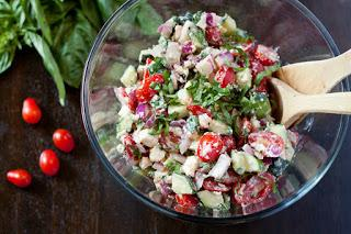 Feta salade met tomaten en komkommer