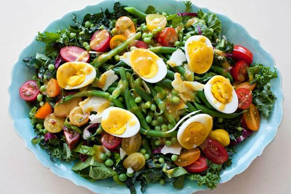 Salade met mosterd dressing