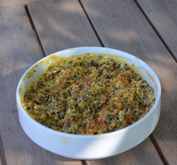 Tapenade van pompoen en gedroogde tomaat