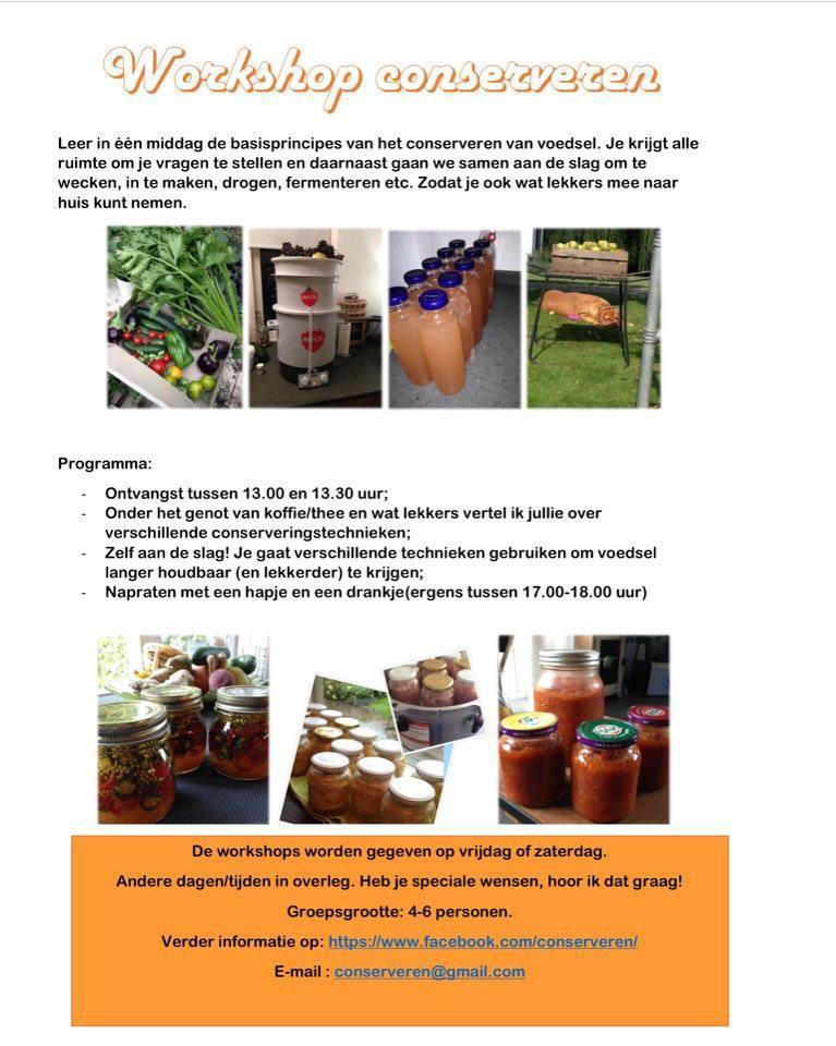 Workshop conserveren in het noorden van Nederland