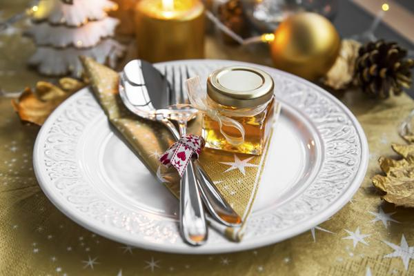 Honing in een Kilner jampotje voor het kerstdiner