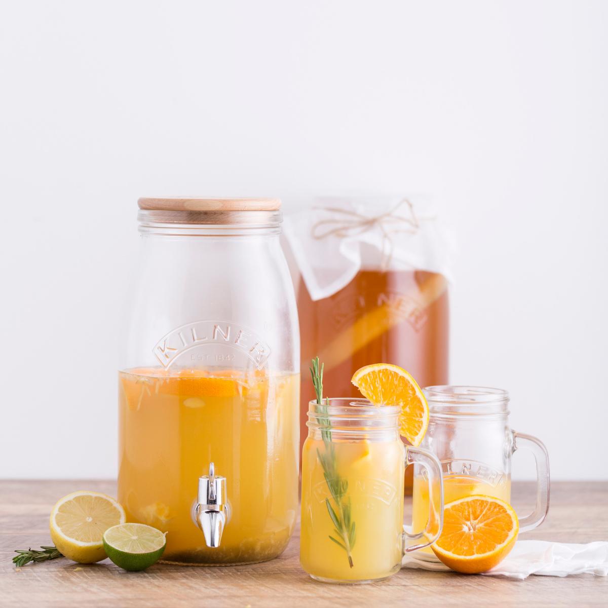 Kombucha maken met sinaasappel en gember